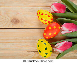 Easter background, eggs and flowers