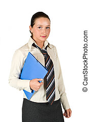 Student female holding a folder - Student female holding a...