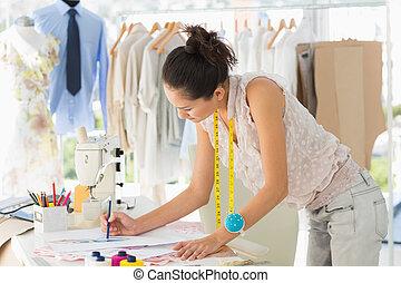 hembra, Moda, diseñador, trabajando, ella,...
