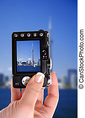 Toronto Tower snapshot - taking a picture of the CN Tower in...