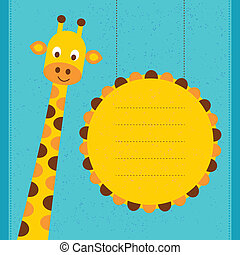Baby shower card / birthday card with giraffe.Vector...