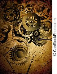 Collage of clocks on vintage texture