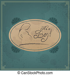 Baby card - Its a boy theme - Retro Baby card - Its a boy...