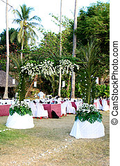 Wedding reception. - Romantic outdoors wedding reception.