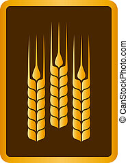 golden wheat ears - brown sign with golden wheat ears in...