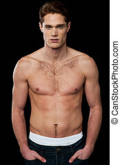 Shirtless young masculine man - Shirtless male model with...