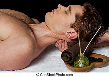 Masseur doing neck massage - Man relaxing getting neck back...