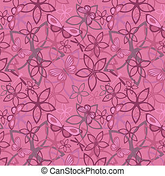 Floral butterfly abstract background, seamless Vector...