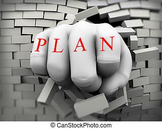 3d plan fist burst through brick wall - 3d rendering of...