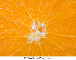 Orange Slice Center - Extreme Close Up Of Orange Slice...