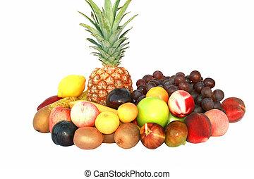 Fruits - Lot of fresh fruits isolated on white