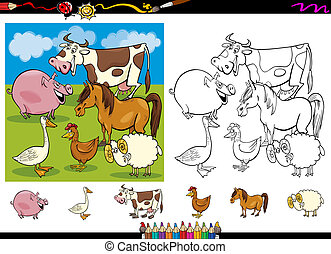 farm animals coloring page set - Cartoon Illustrations of...