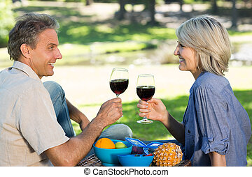 Couple toasting wine in park - Side view of happy couple...