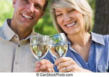 Smiling couple toasting wine glasses - Closeup of smiling...