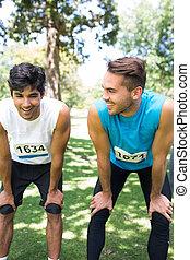 Marathon runners in park