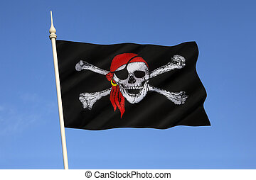 Skull and Crossbones Flag - Jolly Roger - The skull and...