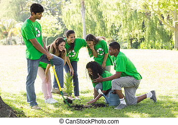 Young environmentalists in park
