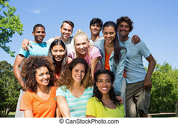 Happy university students - Group portrait of happy...