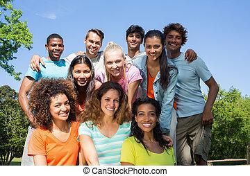 Happy university students - Group portrait of happy...
