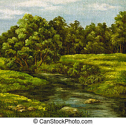 Painting, summer landscape - Painting, picture oil paints on...