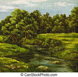 Painting, summer landscape - Painting, picture oil paints on...