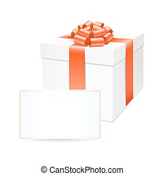 Vector gift box with red bow ribbon.