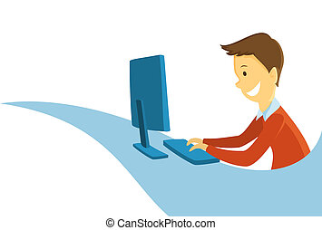 Man working on the computer - Cartoon vector illustration of...