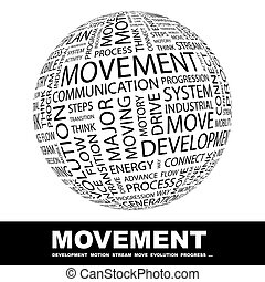MOVEMENT Concept illustration Graphic tag collection...
