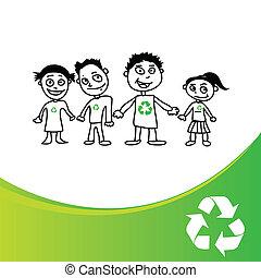 crianças, recicla