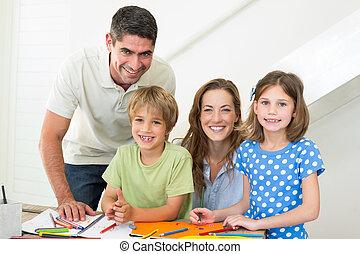 Daheim, Lächeln, färbung, familie