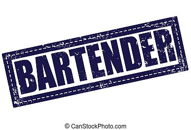 bartender grunge stamp whit on vector illustration