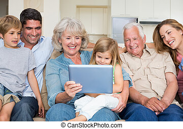 Multigeneration family using digita - Happy multigeneration...