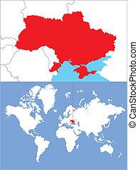 Ukraine im Ausschnit auf der Welkarte