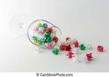 Paper stars in  glass   on white background