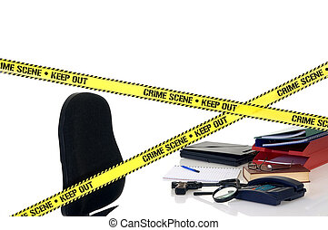 CSI crime scene with weapon in foreground, white background,...