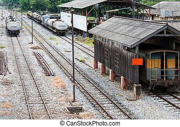 Railway yard of the station in the northern of Thailand.