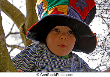 Wacky Hat on 4 Year Old Boy - This wacky photo is a little...
