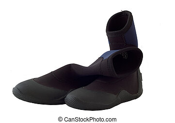 wetsuit boots - an old used pair of surfing or diving...