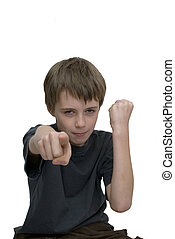 Aggresive boy - an image of an aggresive young boy with...