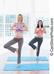 Smiling pregnant women in yoga class in tree pose in a...