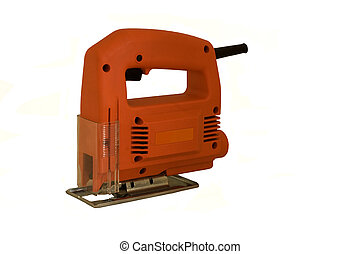 electric jigsaw - an isolated electric jigsaw cutting tool.