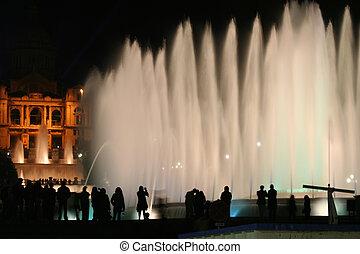 barcelona fountain - Night shot of fountain in  barcelona