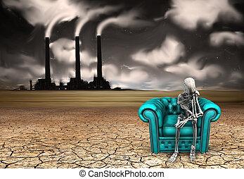 Mourn - Skeletal figure ponders
