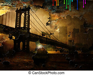 Brooklyn Bridge with Rainbow Dripping