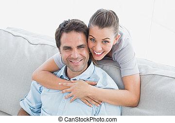 愉快, 夫婦, 照像機, 向上, 微笑