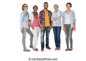 cheio, casualmente, pessoas, vestido, jovem, comprimento,...