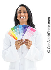 Portrait of a woman with paint samples