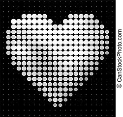 Abstract heart on black background Halftone design