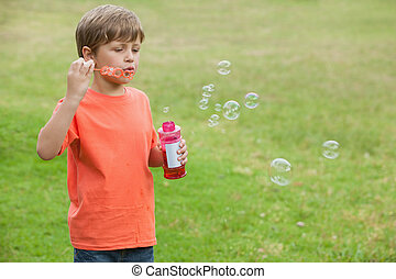 Boy blowing soap bubbles at park - Portrait of a little boy...