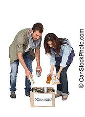 cheio, comprimento, jovem, par, doação, caixa
